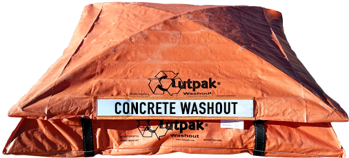 Orange Outpak concrete washout box