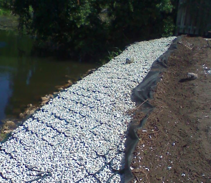 shoreline geocell pathway for erosion control