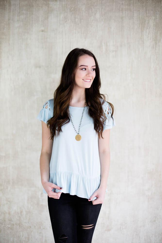 Sky Blue Ruffle Top