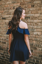 Ruffle Neck Fit & Flare Dress