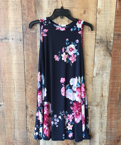 Navy Floral Swing Dress
