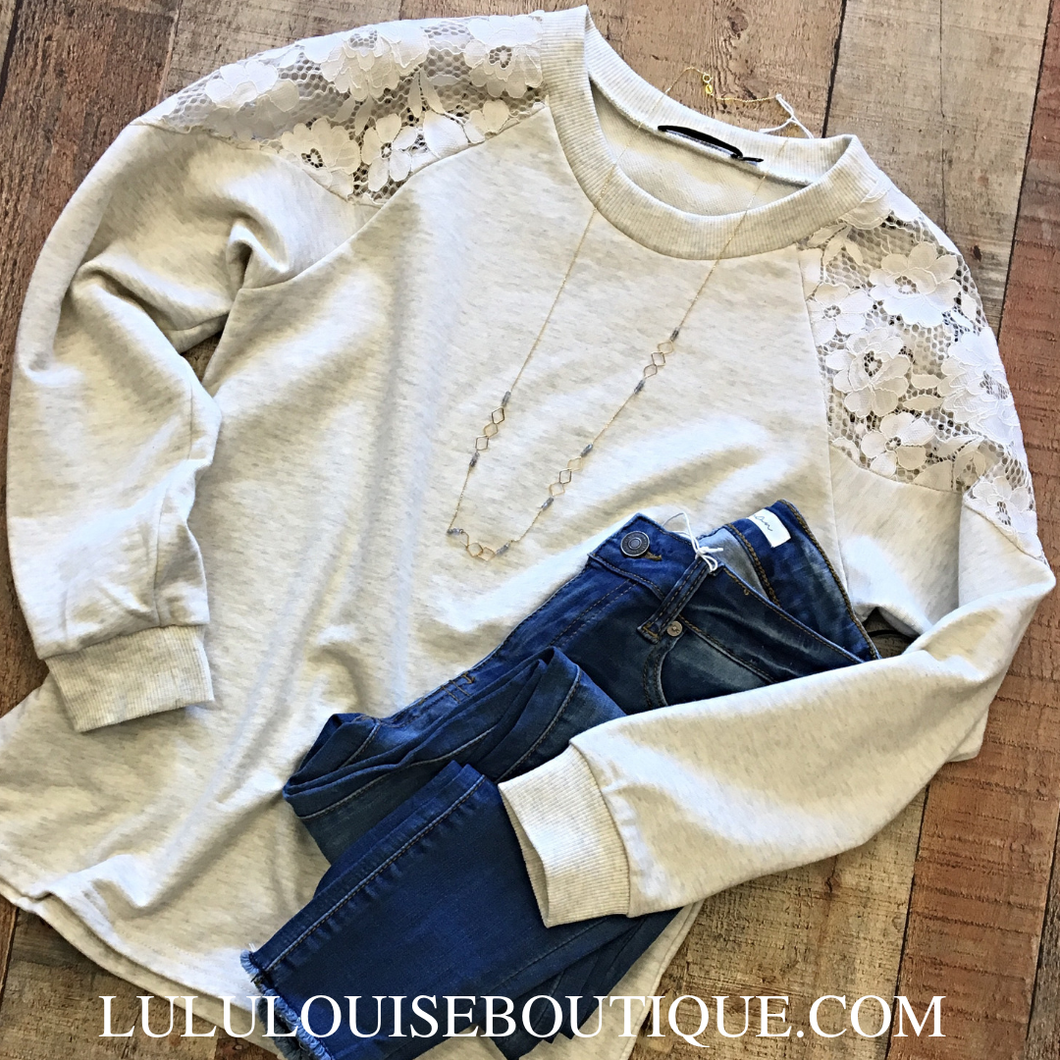 Lace Oatmeal Top