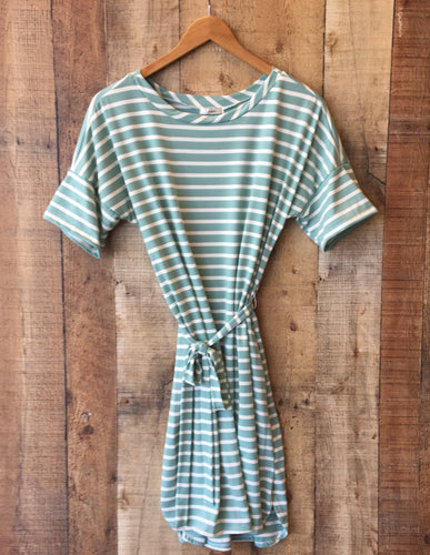 Sage Striped Belted Dress