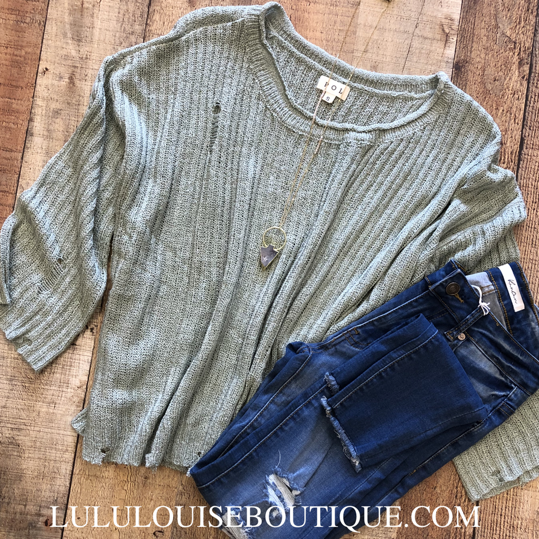 Distressed Sage Sweater