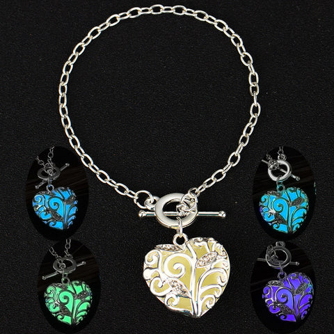 Glow In the Dark Heart Charms Bracelet