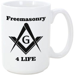 Logoz USA - Mason Coffee Mug Freemason 4 Life - Logoz Custom T Shirts