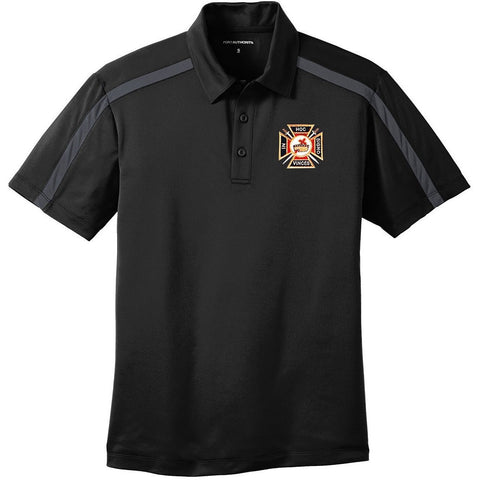 Knights Templar Port Authority Silk Touch Performance Color Block Stripe Polo - Logoz Custom T Shirts