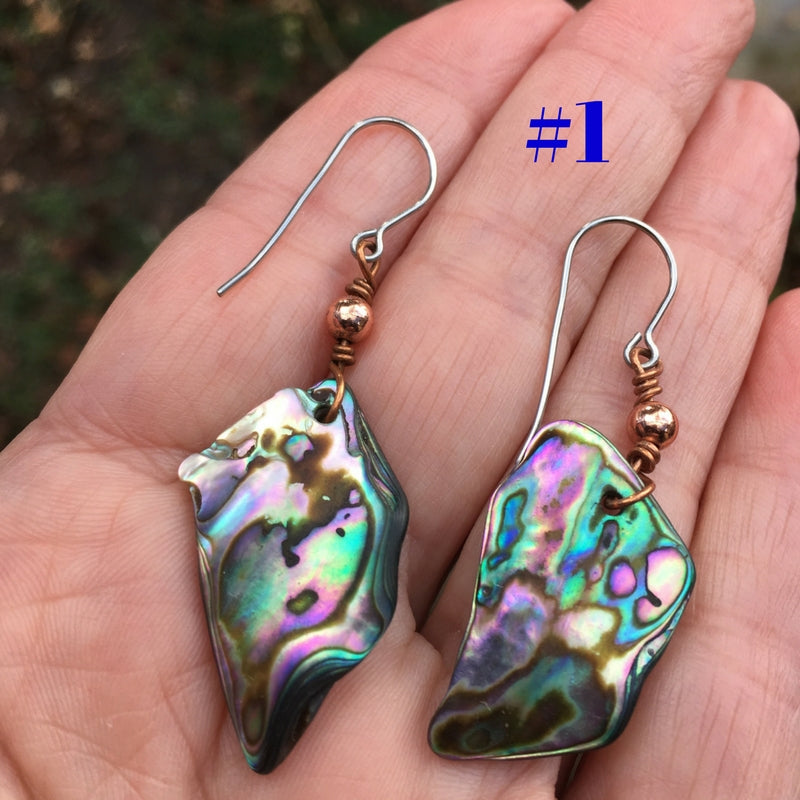 Abalone with Copper Bead Earrings