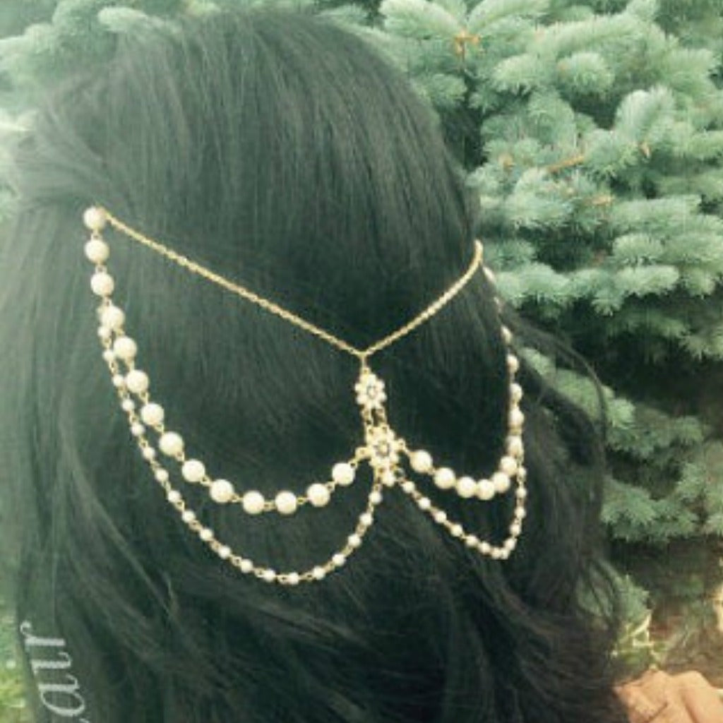 Pearl Hair Garland, Boho Wedding or Goddess Hair Chain