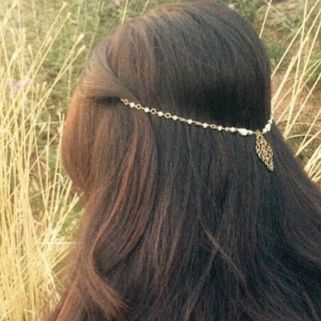 Medieval Hair Garland, Sage and Antique Gold