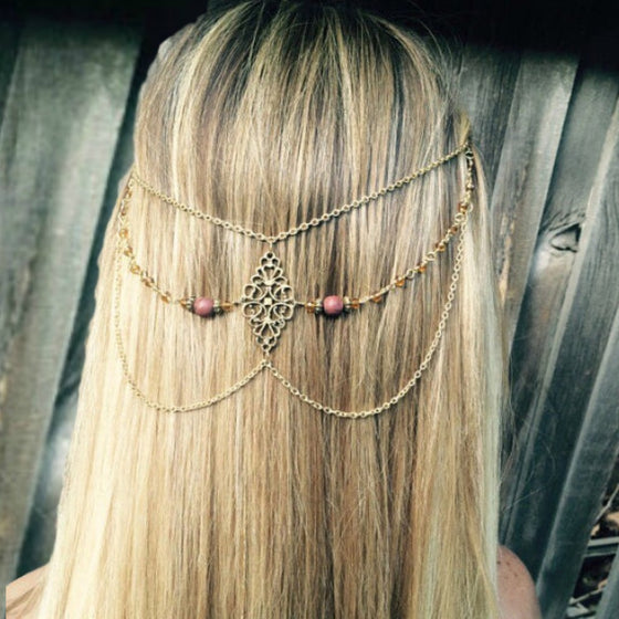 Cascading Hair Chain Jewelry: Brown Beads and Antiqued Gold Chain