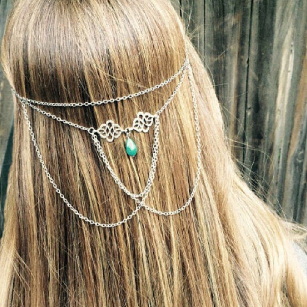 Cascading Hair Chain Jewelry: Turquoise Bead and Silver or Brass Chain
