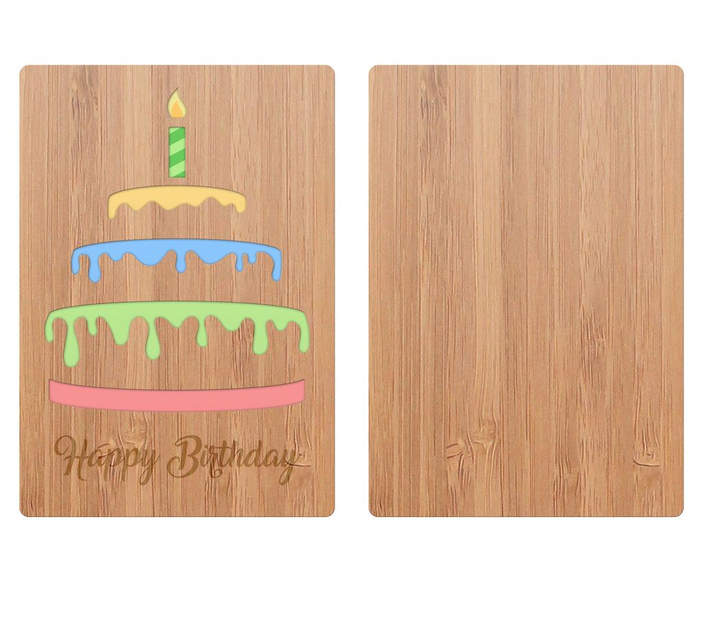 Front Of Bamboo Wood Greeting Birthday Card With Cake Layers and a Candle