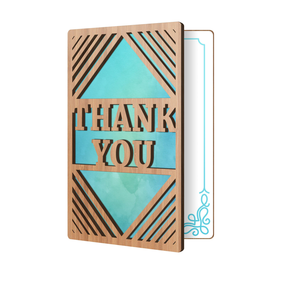 Front Of Bamboo Wood Greeting Card With The Thank You Word Cut Out