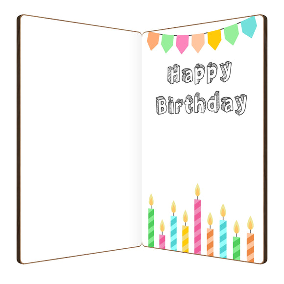 This front of bamboo wood whimsical birthday card features a colorful layered birthday cake design, topped with the perfect birthday candle.