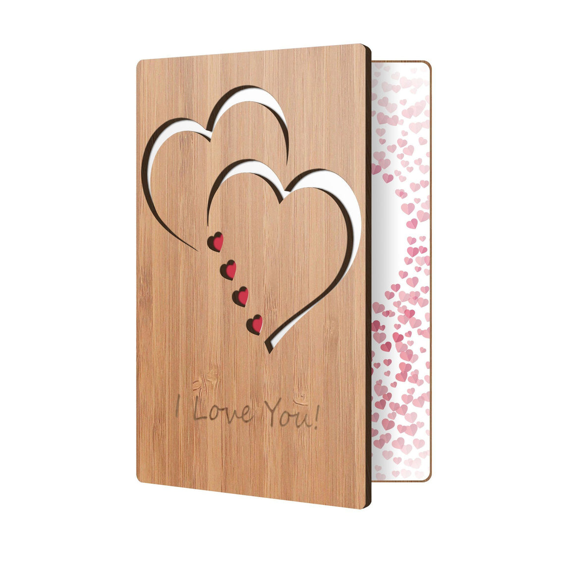 Bamboo Wood Greeting Card Classic Hearts Love Card Main