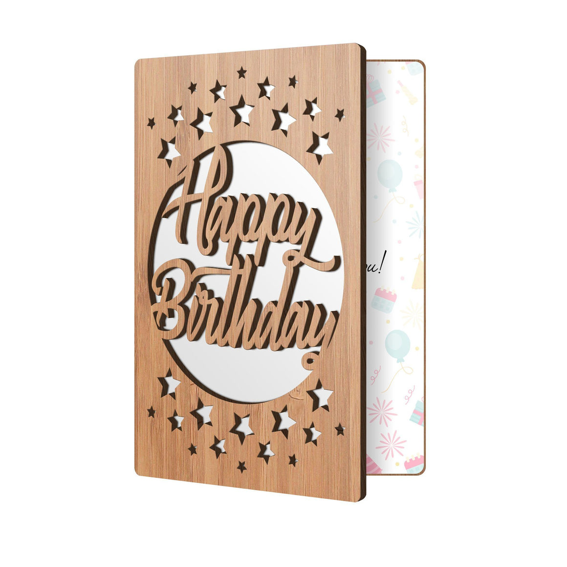 Bamboo Wood Greeting Card Happy Birthday Stars Birthday Card Main