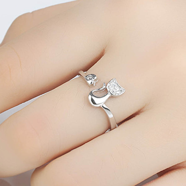 Cute & Delicate Cat Shape Crystal Ring