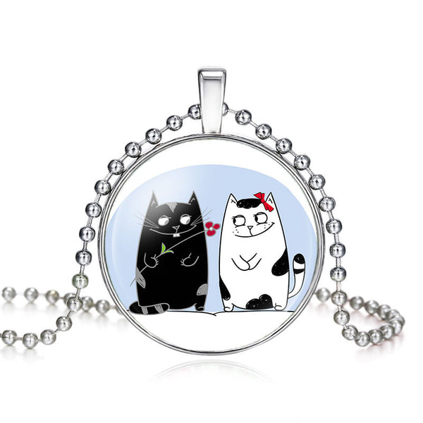 Cat Lovers Pendant & Necklace Glass Finish
