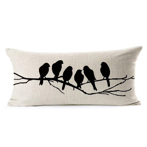 Beautiful Custom Cushion Cover featuring Six Birds On A Tree