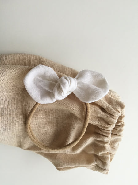Headband bow- white