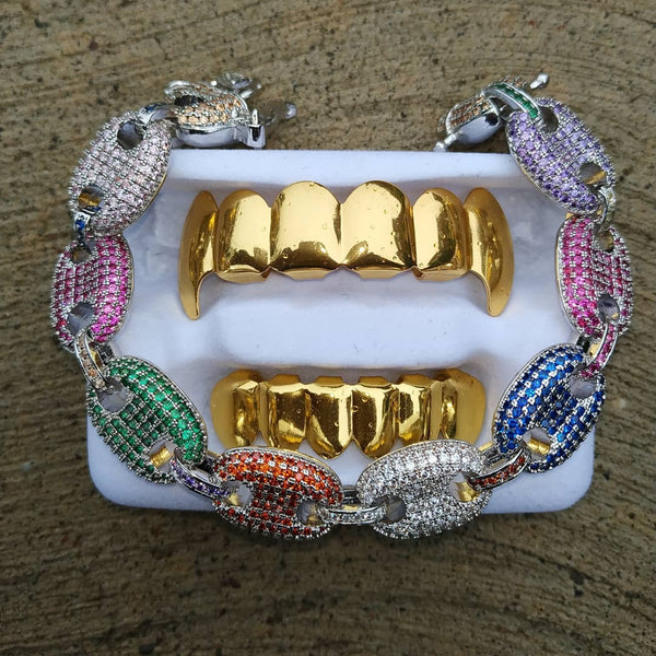 Gold Vampire Grillz With Multi Colored Gucci Link Bracelet
