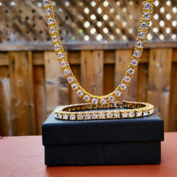 18K Gold Diamond Tennis Chain Set