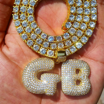 Custom 18K Gold Icy Bubble-Letter