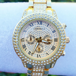 18K Gold Double Diamond Bezel