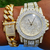 CZ Diamond Gold Watch with Cz Diamond Gold Cuban Link Bracelet