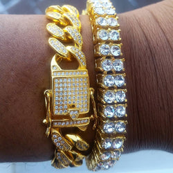 2 Row Tennis Bracelet with Miami Cuban Link Bracelet