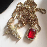 18K Gold STUNNING ALL GOLD EVERYTHING RUBY ANGEL SET