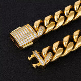 10mm 18k Gold Diamond Clasp Cuban Link
