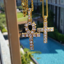 Diamond Ankh and Cross Set