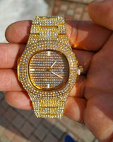 18K Gold Iced Out Watch