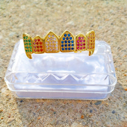 18K Gold Rainbow Diamond Grillz