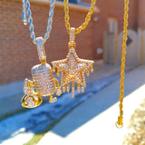18K Gold Diamond Drip Star