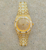 Premium 18K Gold Miami Cuban Link Watch Set