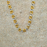 18K Gold 2 Tone Cuban Link Chain
