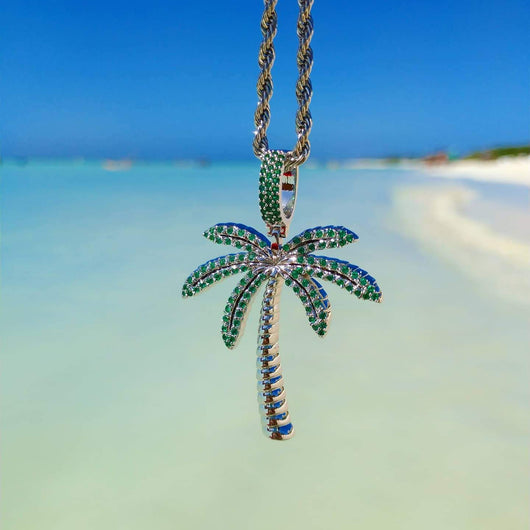 18K Gold Diamond Palm Tree