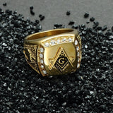 CZ Diamond Freemason Ring