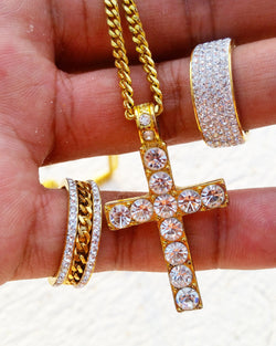 18K Gold Diamond Cross