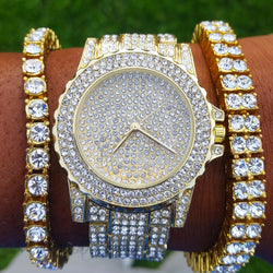 18k Gold Plated CZ Diamond Frozen Watch with CZ Diamond Bracelet and 2 Row Tennis Bracelet