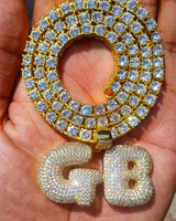 2 Custom Gold Icy Bubble-Letters GB with cz diamond tennis chain