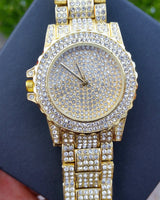 18k Gold Plated CZ Diamond Frozen Watch