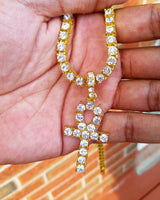 CZ Diamond Tennis Chain With Ankh