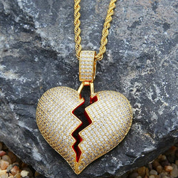 18K Gold Icy Broken Heart