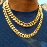 18k Gold Thick Cuban Link Chain (8mm-18mm)