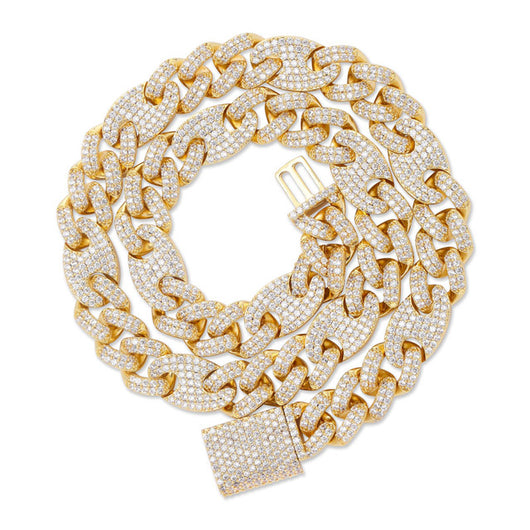 18K Gold Diamond Oval Cuban Link Chain