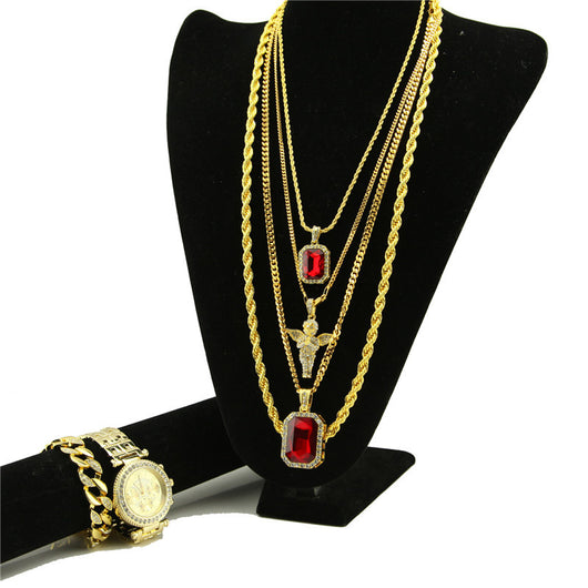 STUNNING ALL GOLD EVERYTHING RUBY ANGEL SET